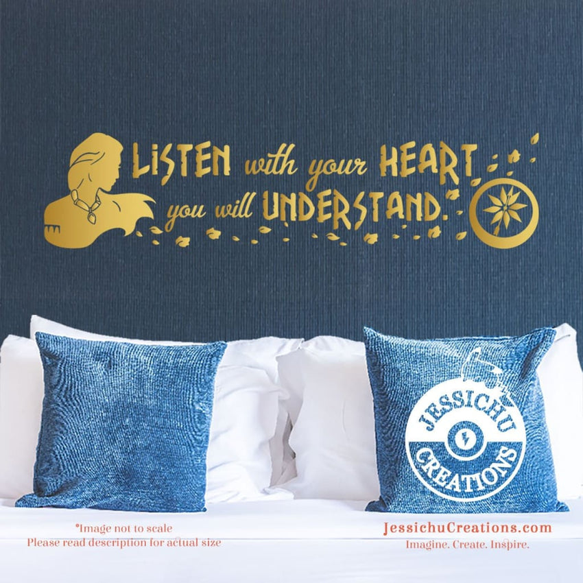 Listen With Your Heart You Will Understand - Pocahontas Inspired Disney Quote Wall Vinyl Decal Decals