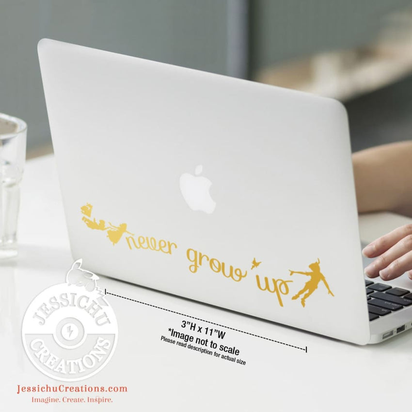 Never Grow Up - Peter Pan Inspired Disney Quote Wall Vinyl Decal Decals