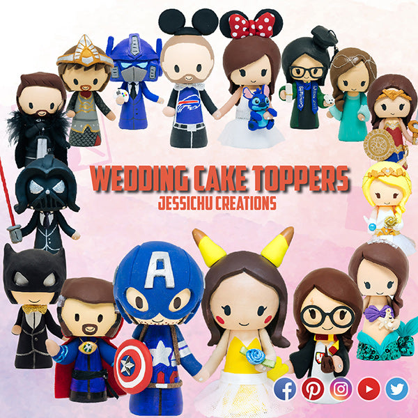 Nightwing Groom & Harley Quinn Bride with Pets - DC Inspired Wedding Cake Topper | Wedding Cake Toppers | Cake Topper Gallery | Jessichu Creations