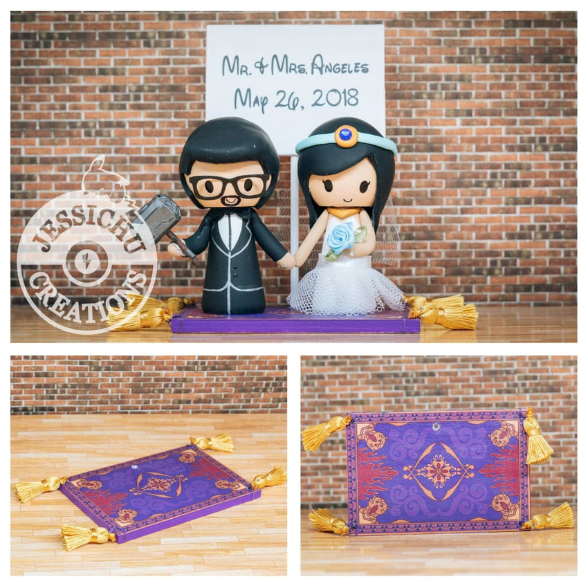 Thor and Jasmine on Magic Carpet Wedding Cake Topper | Marvel x Disney Aladdin | Jessichu Creations