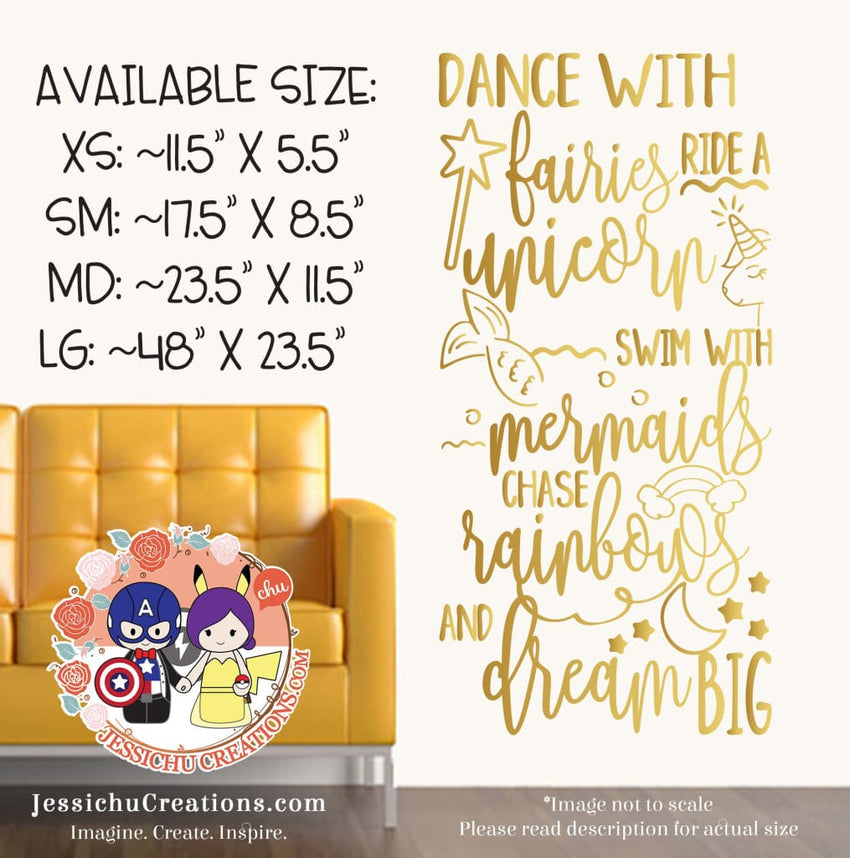 Dance with Fairies Ride a Unicorn - Inspired Motivational Quote Wall Vinyl Decal | Decals | Decals | Jessichu Creations