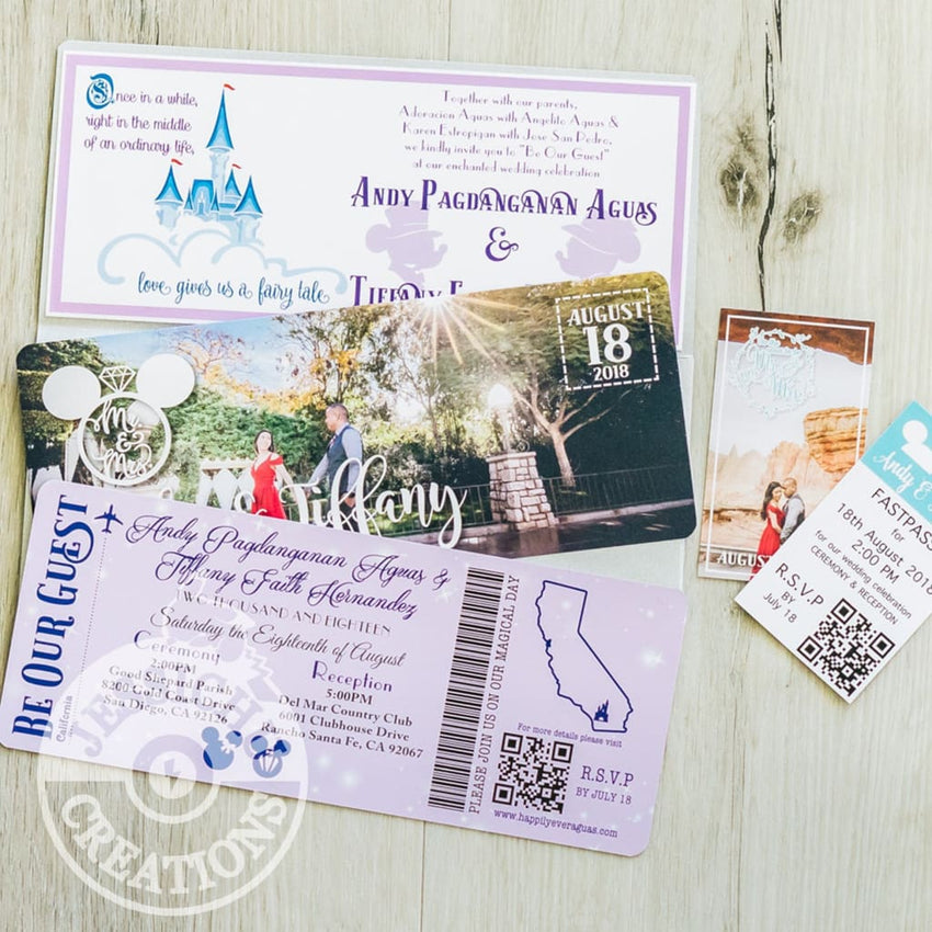 Plane Ticket & FastPass Wedding Invitation, Programs, Save the Date | Disneyland DisneyWorld Disney | Jessichu Creations