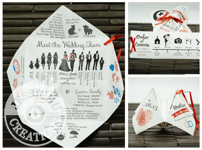 Fortune Teller Wedding Program - Customizable Cootie Catcher Invitation Programs & Stationary Invitations