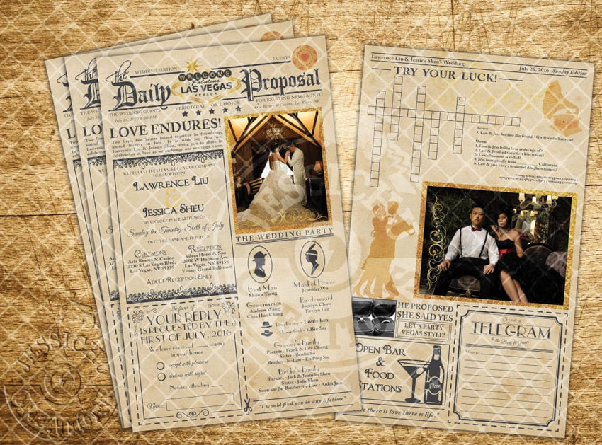 Beauty And The Beast Vintage Newspaper Wedding Invitation Programs Save Date & Stationary Invitations