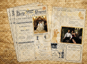 Gatsby 1920's Vintage Newspaper Wedding Invitation Programs Save The Date & Stationary Invitations