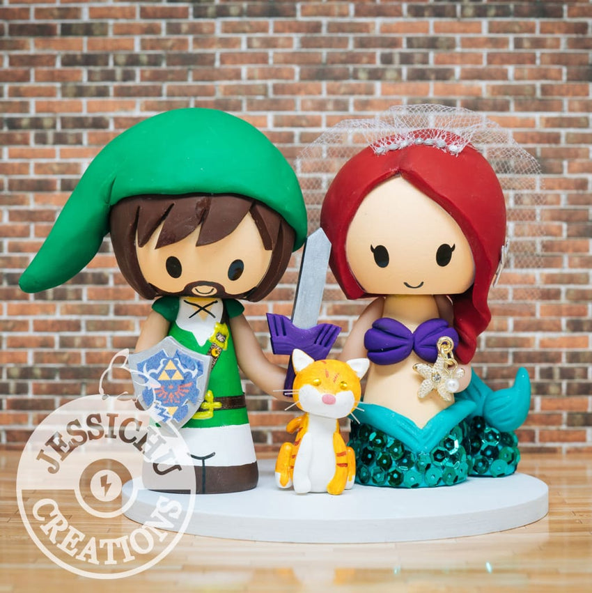 Link and Ariel Little Mermaid Wedding Cake Topper | Nintendo Zelda x Disney | Jessichu Creations