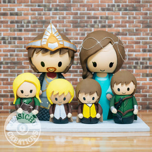 King Aragorn and Arwen with Hobbits, Eowyn, and Legolas Children Wedding Cake Topper | LoTR | Jessichu Creations