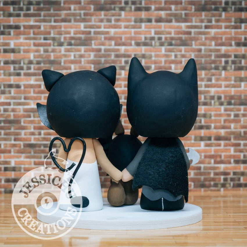 Batman and Catwoman with Eevee Child Wedding Cake Topper | DC x Pokemon | Jessichu Creations