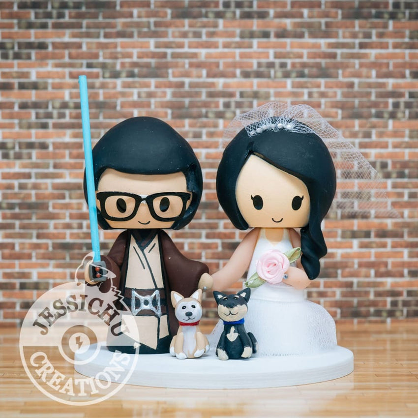Jedi and Bride Wedding Cake Topper | Star Wars | Jessichu Creations