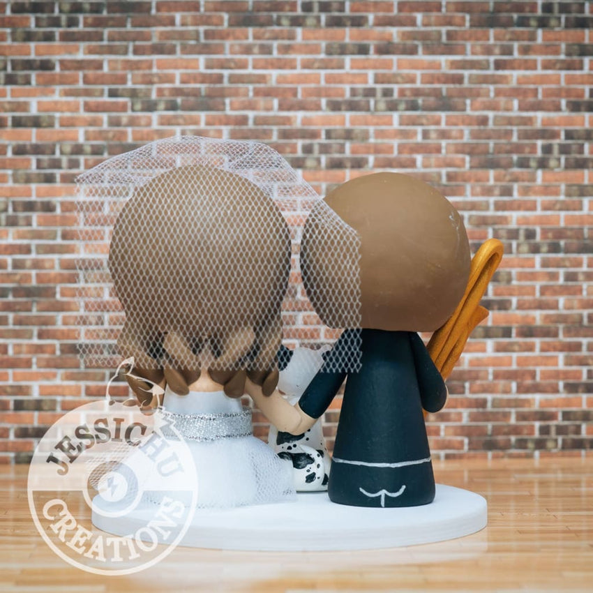 Trombone Player Groom & Pretty Bride Custom Handmade Wedding Cake Topper Figurines | Jessichu Creations