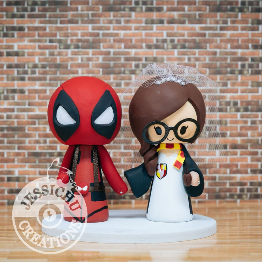 Deadpool and Harry Potter Wedding Cake Topper | Marvel X-Men x HP | Jessichu Creations