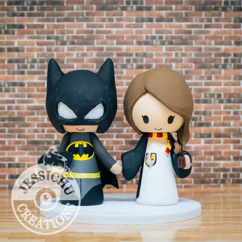 Batman and Harry Potter Wedding Cake Topper | DC x Harry Potter | Jessichu Creations