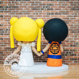 Goku and Princess Serenity Wedding Cake Topper | Dragon Ball Z x Sailor Moon | Jessichu Creations