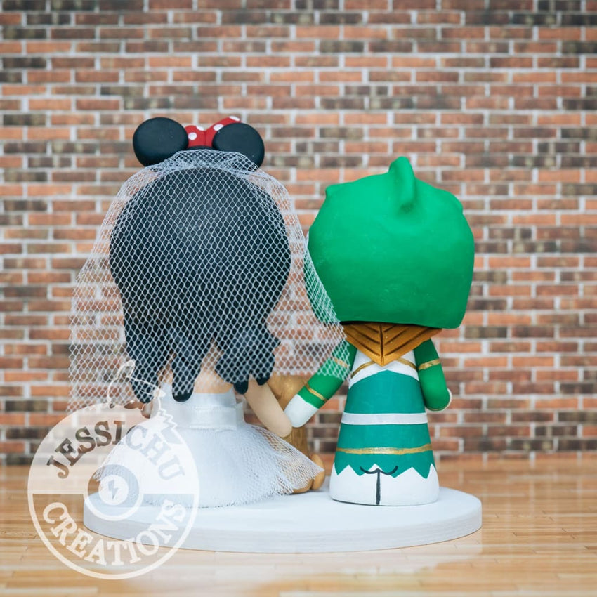 Green Power Rangers and Minnie Mouse Wedding Cake Topper | Power Rangers x Disney | Jessichu Creations