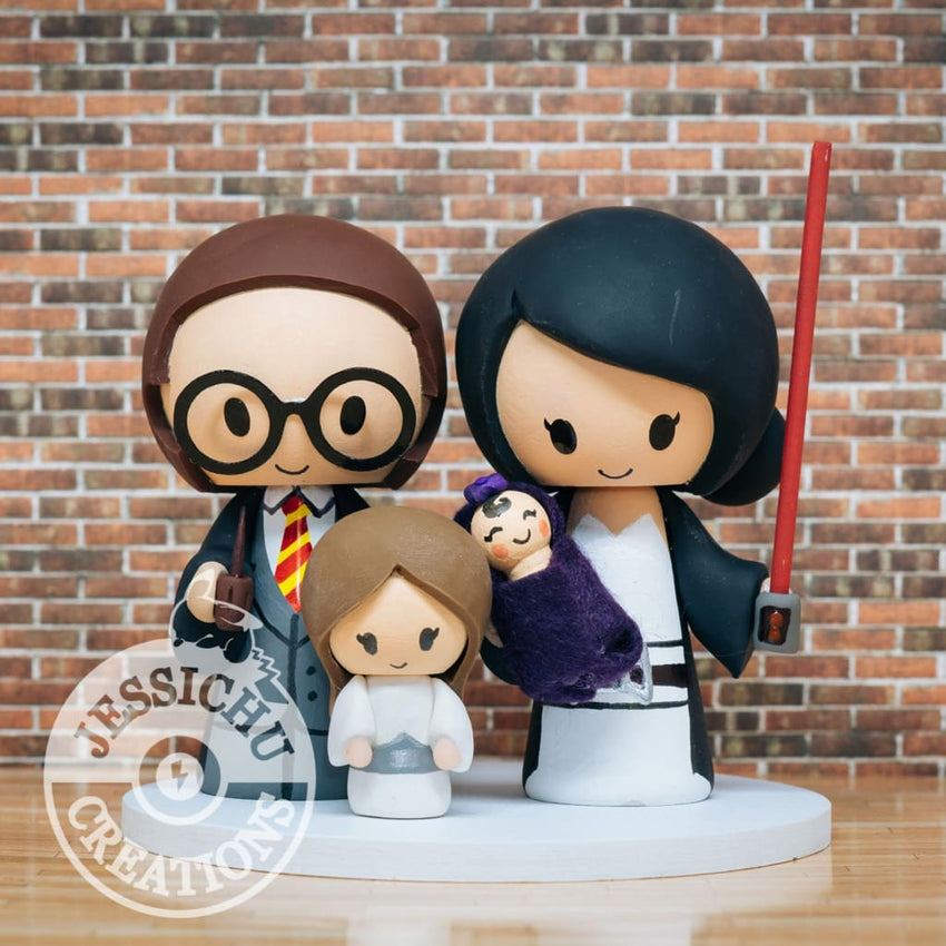 Gryffindor and Sith with Princess Leia Child Inspired Star Wars X Harry Potter Custom Made Figurine Wedding Cake Topper Gallery