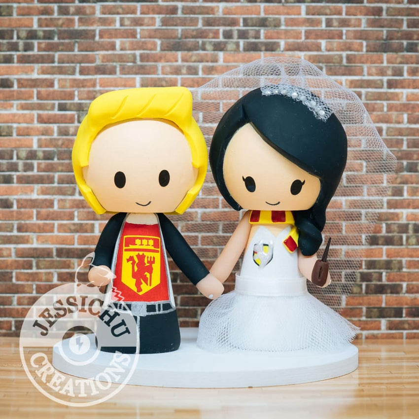 Manchester United Fan and Harry Potter Wedding Cake Topper | Sports x HP | Jessichu Creations