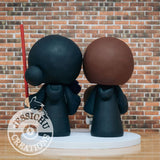 Harry Potter and Lady Sith Lord with Baby and Princess Leia Child Wedding Cake Topper | HP x Star Wars | Jessichu Creations