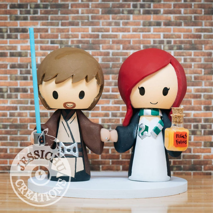 Jedi Groom and Slytherin Bride Wedding Cake Topper | Star Wars x Harry Potter | Jessichu Creations