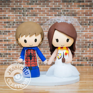 Spiderman and Witch Wedding Cake Topper | Marvel x Harry Potter | Jessichu Creations