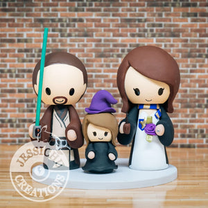 Jedi and Harry Potter with Witch Child Wedding Cake Topper | Star Wars x HP | Jessichu Creations