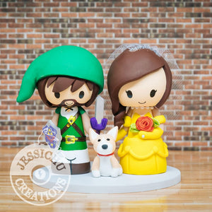 Link and Belle Wedding Cake Topper | Zelda x Disney | Jessichu Creations