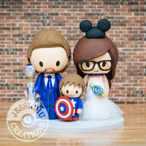 Dr Who and Mickey Mouse with Captain America Wedding Cake Topper | Dr Who x Disney x Marvel | Jessichu Creations