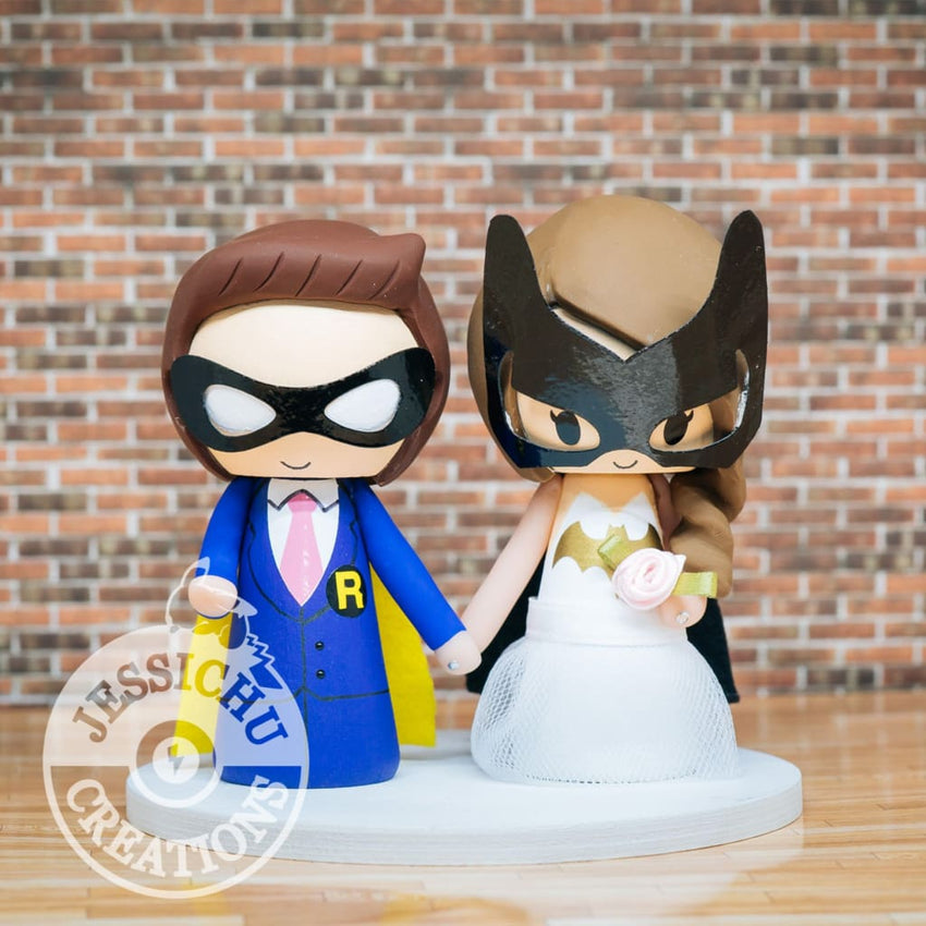 Robin and Batgirl Wedding Cake Topper | DC | Jessichu Creations