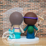 Ninja Turtles and Ariel Little Mermaid Wedding Cake Topper | TMNT x Disney | Jessichu Creations