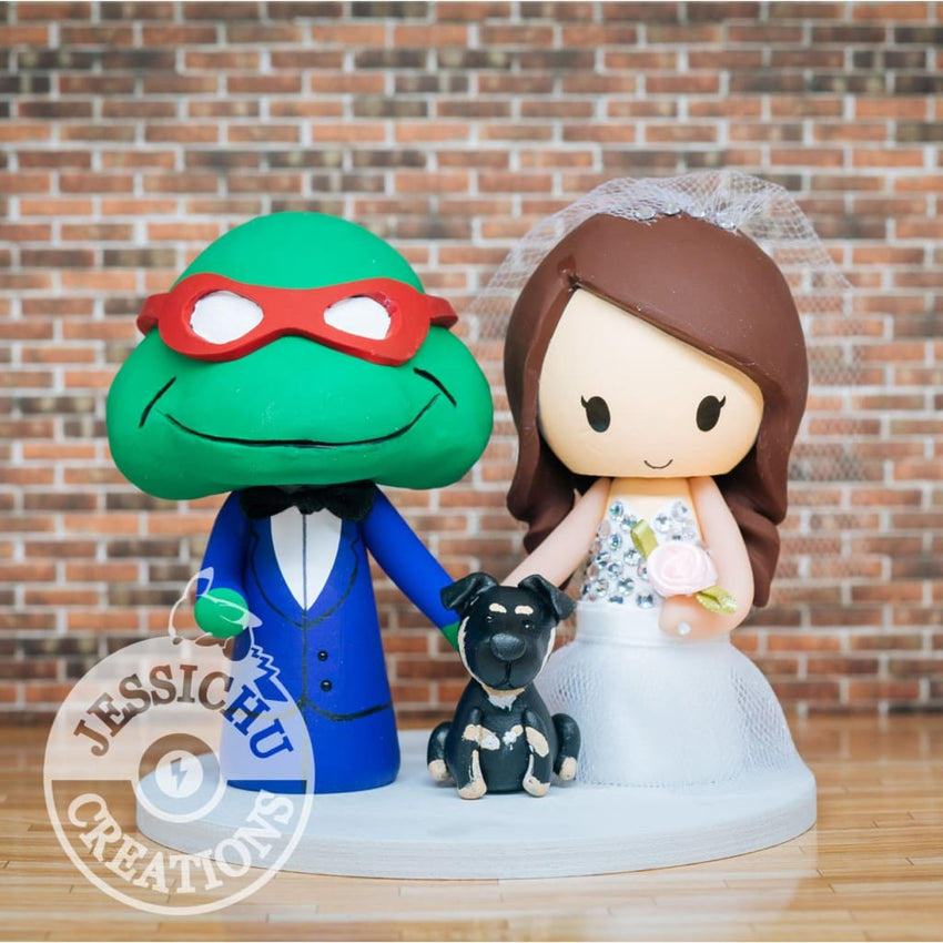 Ninja Turtles and Pretty Bride Wedding Cake Topper | TMNT | Jessichu Creations