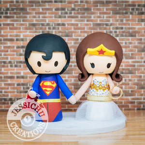 Superman Groom and Wonder Woman Bride Wedding Cake Topper | DC Comics | Jessichu Creations