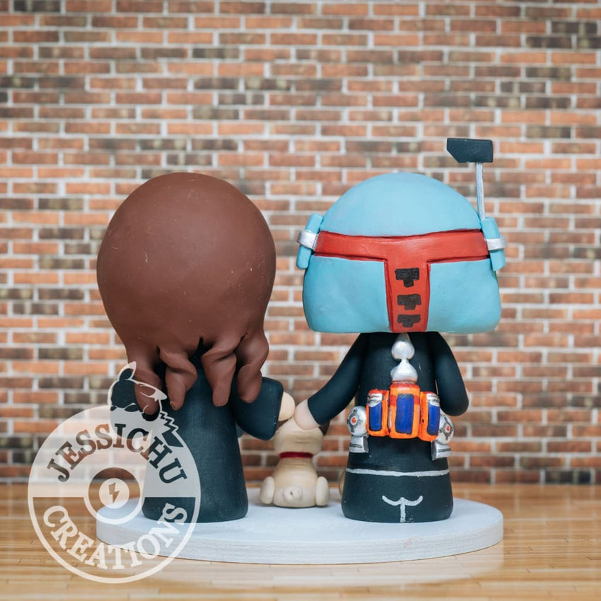 Boba Fett and Hufflepuff Wedding Cake Topper | Star Wars x Harry Potter | Jessichu Creations