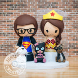 Superman and Wonder Woman with Batgirl Child Wedding Cake Topper | DC | Jessichu Creations