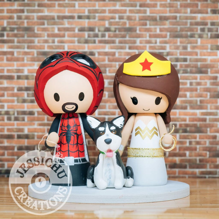 Spiderman and Wonder Woman Wedding Cake Topper | Marvel x DC | Jessichu Creations