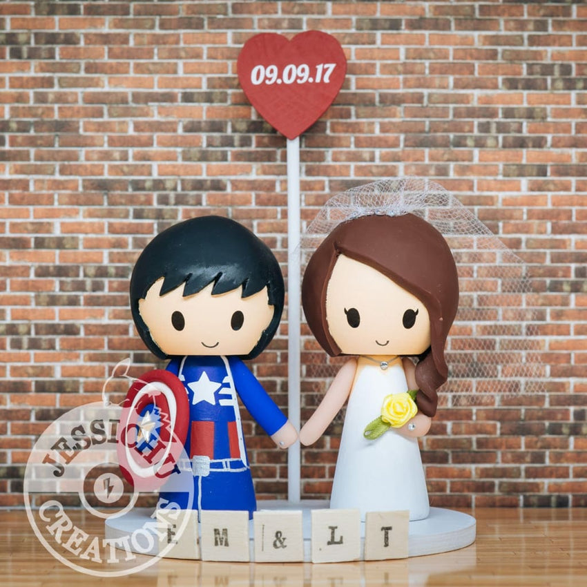 Captain America and Bride Wedding Cake Topper | Marvel | Jessichu Creations