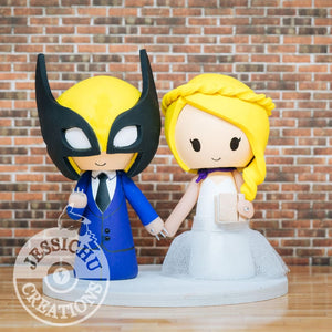 Wolverine and Pretty Bride Wedding Cake Topper | Marvel X-Men | Jessichu Creations