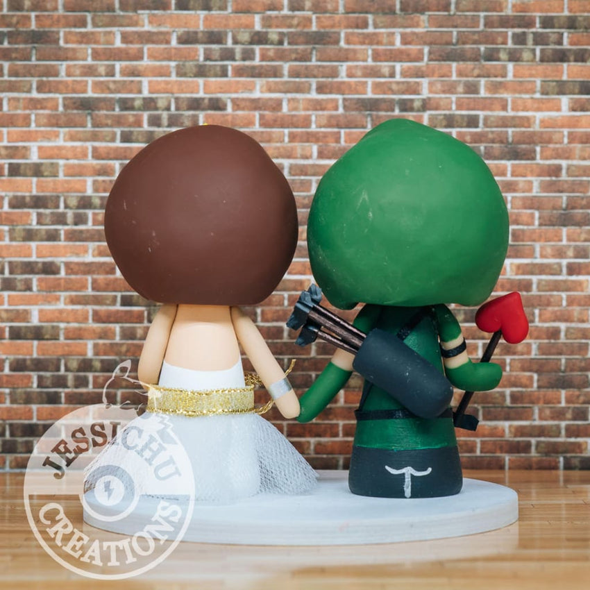 Green Arrow and Wonder Woman Wedding Cake Topper | DC | Jessichu Creations