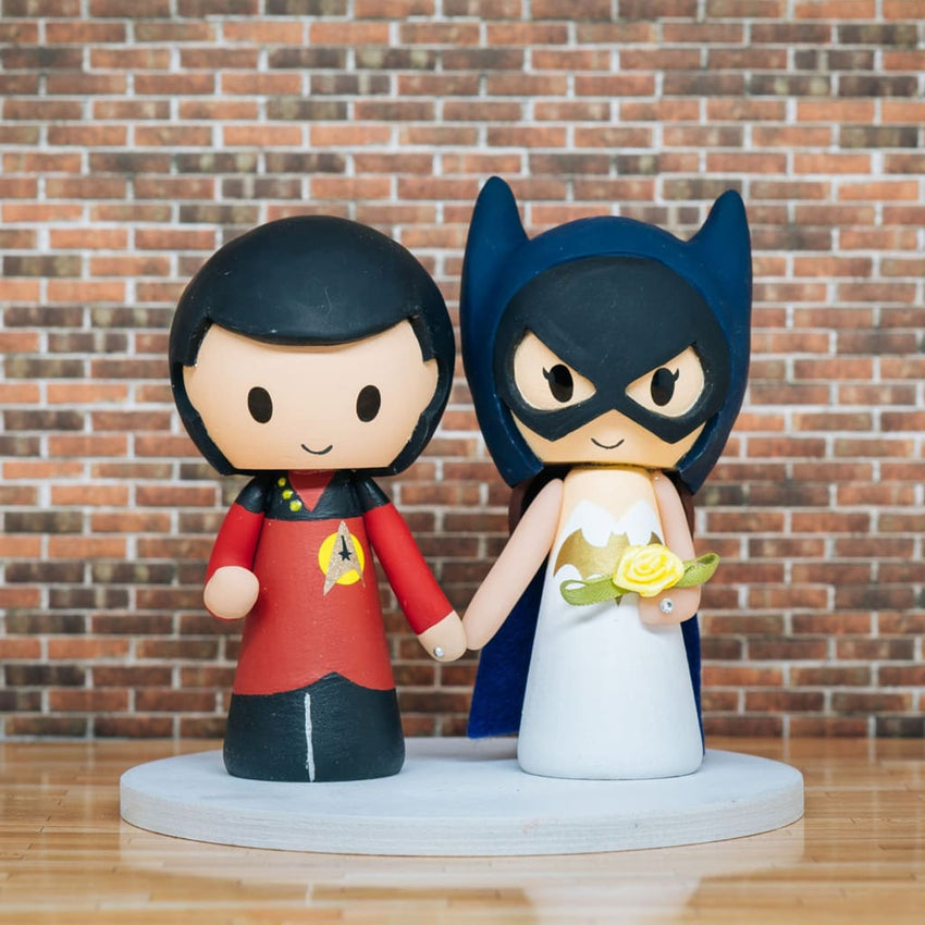 Next Generation Uniform and Batgirl Wedding Cake Topper | Star Trek x DC | Jessichu Creations
