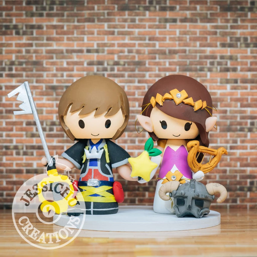 Sora Kingdom Hearts and Zelda with Skyrim Helmet Wedding Cake Topper | Zelda x Disney | Jessichu Creations