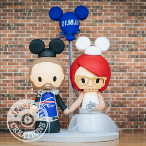 Buffalo Bills Mickey Sports Fan & Minnie Mouse Bride - Disney x Sports Inspired Wedding Cake Topper | Wedding Cake Toppers | Cake Topper Gallery | Jessichu Creations