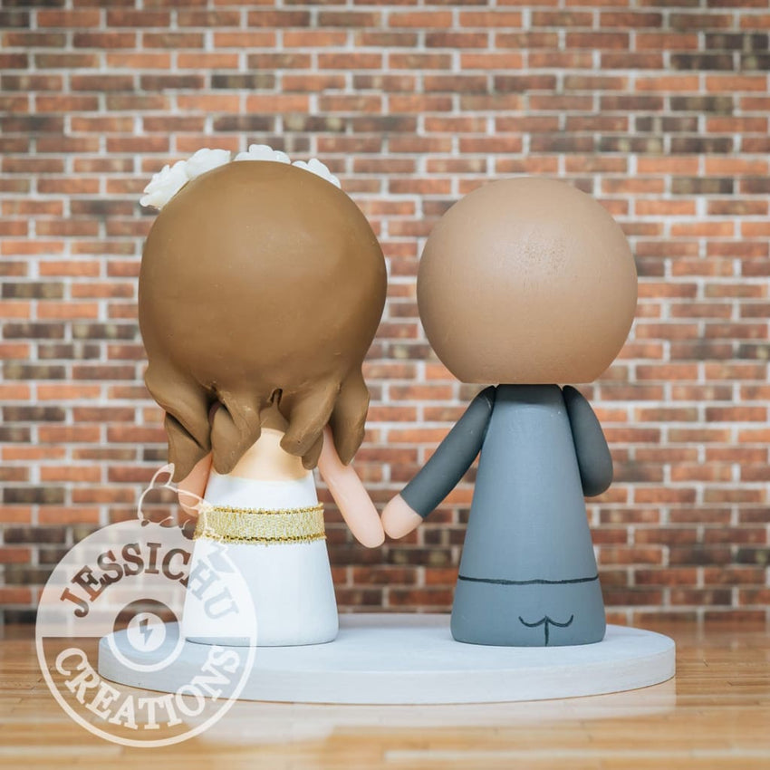 Hufflepuff Harry Potter Couple Wedding Cake Topper | Jessichu Creations