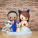 Stormtrooper and Cat Bride with Corgi Wedding Cake Topper | Star Wars | Jessichu Creations