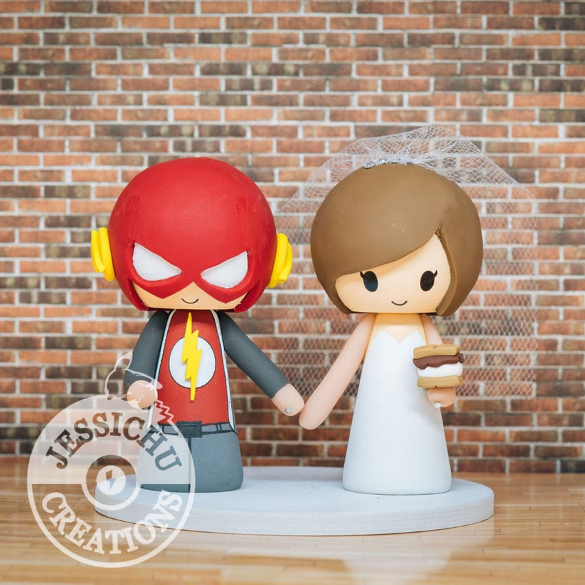 The Flash and Pretty Bride Wedding Cake Topper | DC | Jessichu Creations