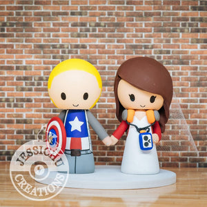 Captain America and Starlord Wedding Cake Topper | Marvel x Guardian of the Galaxy | Jessichu Creations