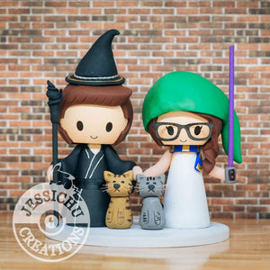 LoTR Link Harry Potter Geeky Couple Wedding Cake Topper | Jessichu Creations