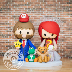 Mario with Yoshi and Hot Dog Bride Wedding Cake Topper | Nintendo | Jessichu Creations