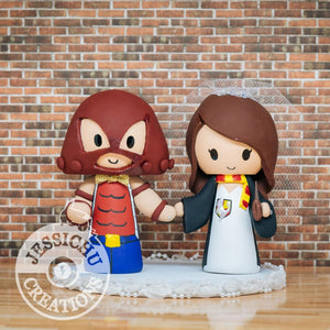 Juggernaut and Harry Potter Wedding Cake Topper | Marvel X-Men x HP | Jessichu Creations