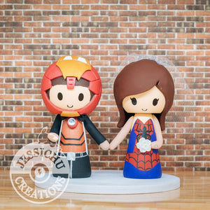 Ironman and Spiderman Wedding Cake Topper | Marvel | Jessichu Creations