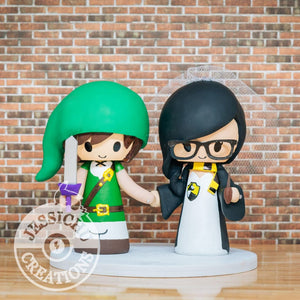 Link and Harry Potter Wedding Cake Topper | Nintendo Zelda x HP | Jessichu Creations