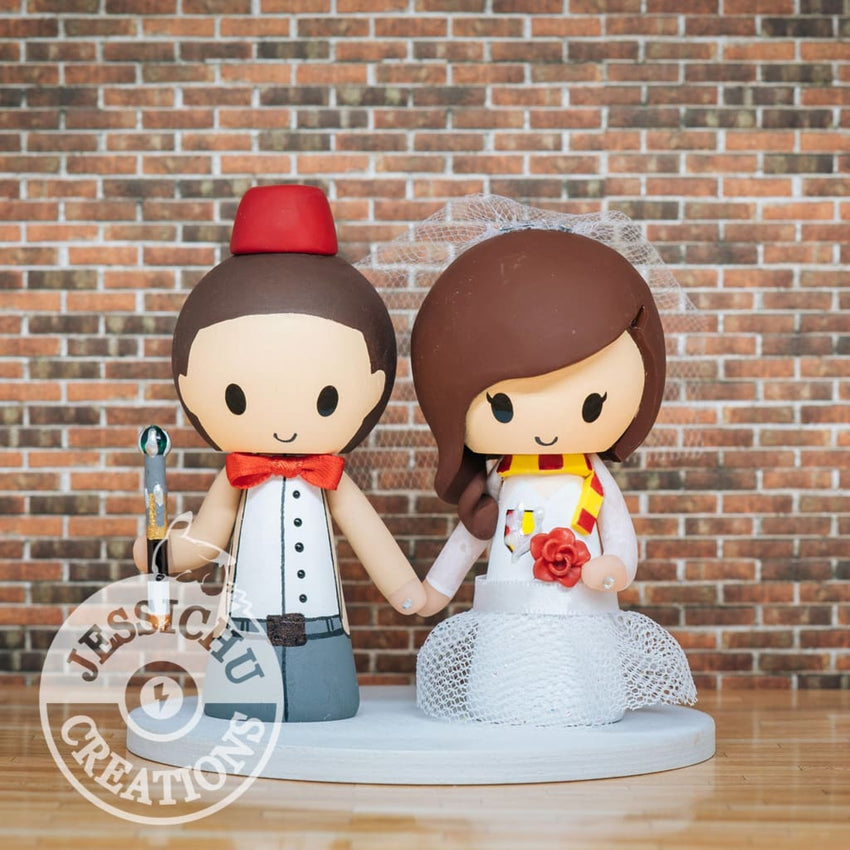 Eleventh Doctor and Harry Potter Wedding Cake Topper | Dr Who x HP | Jessichu Creations
