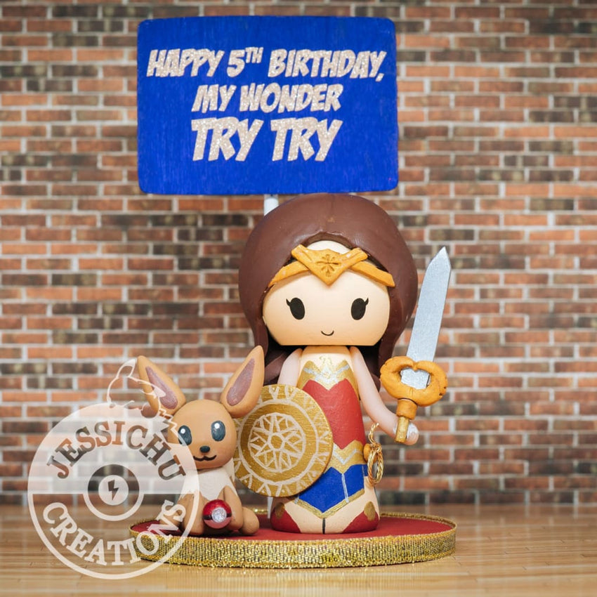 Gal Gadot Inspired Wonder Woman Birthday Cake Topper | DC | Jessichu Creations